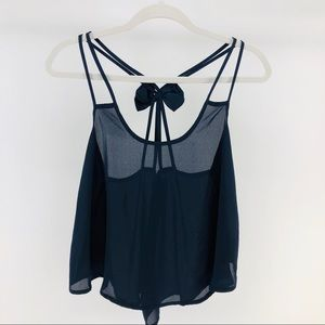 Cropped Crossback Strappy Tank w/ Bow Detail